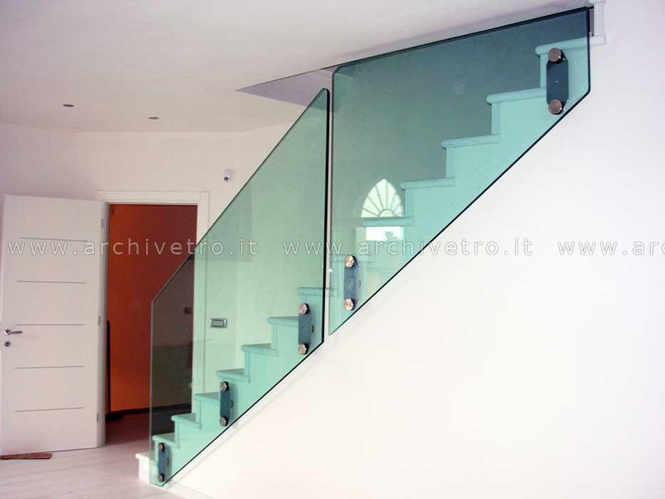 Super Parapetto vetro scala, sistema a fissaggio puntuale - Archivetro DI61