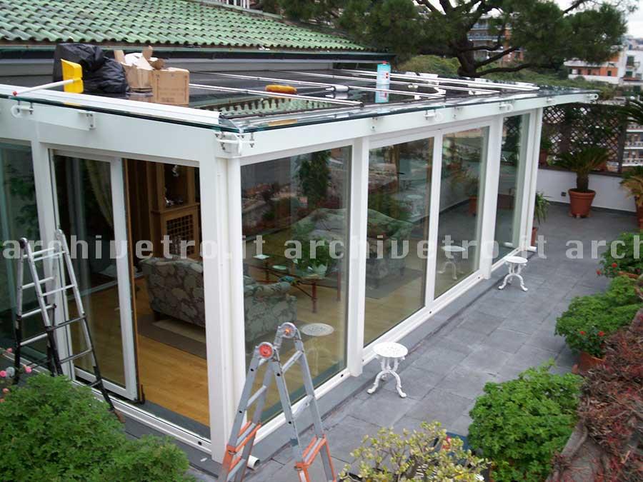 Copertura in vetro per veranda, struttura in legno - Archivetro